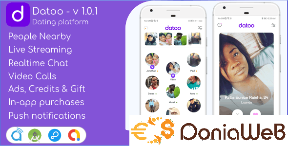 Datoo v1.0.7 - Dating platform with Live Steaming and Video calls + Admin Panel