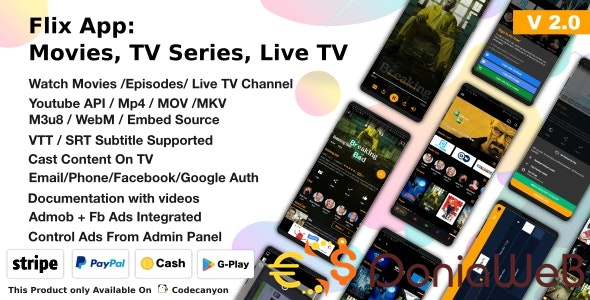 Flix App Movies v2.2 - TV Series - Live TV Channels - TV Cast